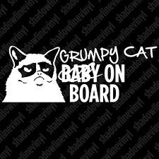 GRUMPY CAT Baby On Board Hates Stick Figure Family Meme Vinyl Decal Sticker