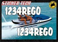 JETSKI REGO REGISTRATION VINYL DECAL STICKER KIT 100mm HIGH SUITS YAMAHA SEADOO