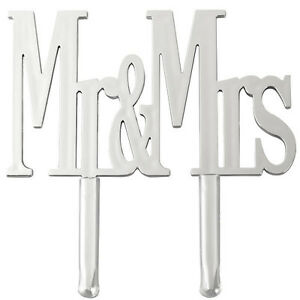 Wilton Mr. & Mrs. Silver Cake Pick Wedding/Anniversary