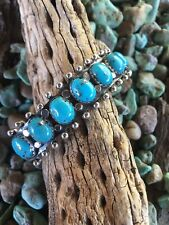 Navajo Sterling Silver & Kingman Turquoise Stacker Cuff Bracelet
