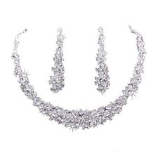 Wedding Jewelry Rhinestone Necklace Earring Sets, Elegant Silver V1F1