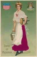 MICHIGAN MI - Michigan State Silk Covered Postcard