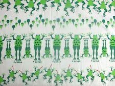 "16.5"" x 21"" Frogs Amphibians Lily Pads Tadpoles Tongues on Cotton Fabric Scrap"