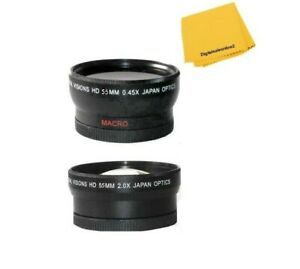 55mm Wide Angle Lens and 2X Telephoto Lens For Sony FDR-AX53 Camcorder