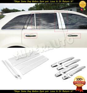 For 2007-2010 Ford Edge Polished 6pcs Door Pillar Trims+8pcs Chrome Handle Cover