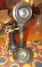 Antique Vintage American Bell Brass Candlestick Desk Stand Telephone Phone 1910