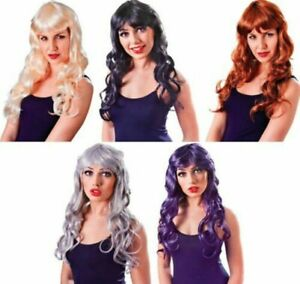 Halloween Long Curly Temptress Glamour Wig Ladies Fancy Dress Accessory