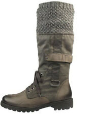 Tamaris Grey Military Worker Calf Length Winter Leather Boots Knit Top Size 5