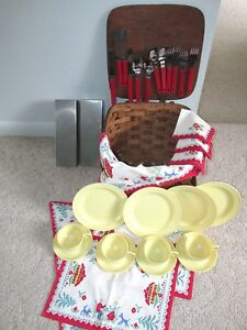 Vintage Woven Wood Picnic Basket plus Accessories Service for 4 Watertown Ware