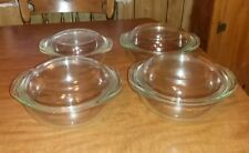 Pyrex by corning set of 4 clear baking round dishes and lids