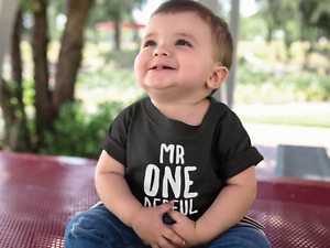 Mr OneDerful Kids Tshirt 1st Birthday Childs Age Gift Party One Year Old One Der