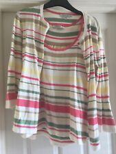 Laura Ashley Twin Set Top & Cardigan Size 14 Striped Cotton Mix.