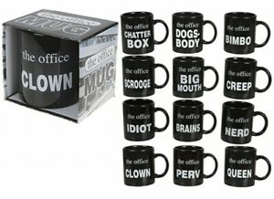 Brand New Boxed 10oz Office Mugs 14 Different Titles, Great for the Office.