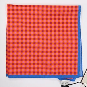 "NWT Thomas Pink Men's Cotton Orange Pink Hank Over Check Pocket Square 16"" x 16"""