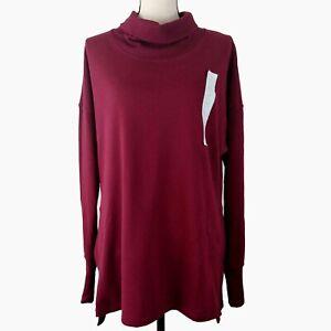 Champion Sweatshirt Womens Red Size Small Mock Neck Long Sleeve Tunic
