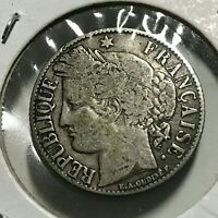 1894-A FRANCE SILVER ONE FRANCS NICE COIN