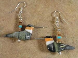 Hand Carved Serpentine Hummingbird Fetish Earrings