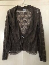 BEAUTIFUL SOPHISTICATED TARGET TAUPE STRETCH LACE CARDIGAN. NEW. SIZE 12.