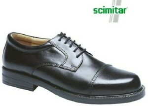 Mens Leather Capped Gibson Lace Up Shoes Black Cushion Insoles Size 6-14