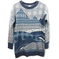 Woolrich Womens XS Fallscape Lambs Wool Sweater Indigo Mountain Scene Blue/Gray