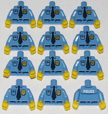 LEGO LOT OF 12 NEW POLICEMAN POLICEMEN POLICE TORSO TORSOS WITH BADGE PIECES