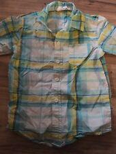 Crazy 8 Boys Short Sleeve Button Up Shirt Size Xs 4 Blue Yellow