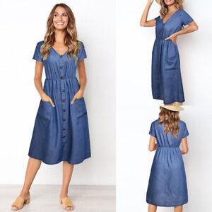 Button Denim Shirt Dresses for sale | eBay