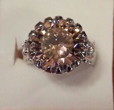 Sterling Silver Plated Round Pink & White Topaz Gemstone Ring Size 7