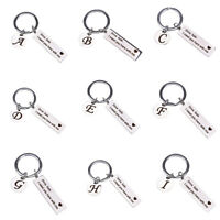 Drive Safe Initial Letter Charm Keyring Keychain Stainless Steel Couple Gift_DS