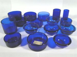 16 Antique COBALT BLUE Glass Mustard Pot Salt Cellar Shaker Liner Insert LOT