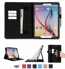 Samsung Galaxy Tab S2 9.7 PU Leather Case Card Slot Note Holder Hand Strap Black