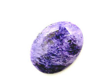 Edelsteine Natur Charoit Cabochon poliert oval schwarz weiss violett 40mm
