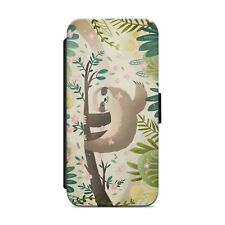 CUTE SLOTH FLOWER WALLET FLIP PHONE CASE COVER FOR IPHONE SAMSUNG HUAWEI    s108