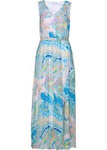 Chiffon Kleid bedruckt Gr. 38 Zartrosa Polarmint Maxi-Dress Freizeitkleid Neu