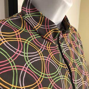 Terry Women's L/S Cycling Jersey Shirt  L Gray Circle Print Pockets Half Zip
