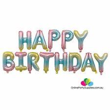 "16"" Pastel Rainbow HAPPY BIRTHDAY Foil Letter Balloon Banner"