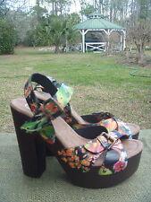 Womens Candies Cakee Floral Coral Black Platform Heels Strappy Sandals Sz 6