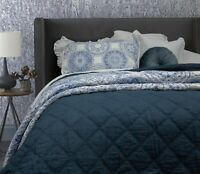 Arabella Petrol Blue 100% Cotton Coverlet Bedspread Bedcover Set - New