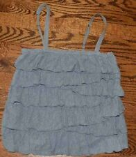 HOLLISTER S SMALL JUNIOR WOMEN'S CAMI GRAY SHIRT TOP TIERED RUFFLE CROPPED