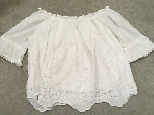 New Look white off shoulder embroided top size 10