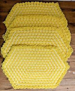 VTG MCM Lot 4 Hand Crochet Placemats Yellow Jasmine Star Stitch Cottagecore