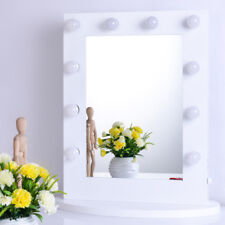 White Vanity Lighted Hollywood Makeup Mirror Stage Beauty Mirror +Lighted Dimmer