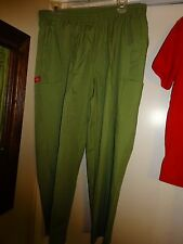Dickies Scrub Pants Light Olive Green Large Petite 5 Pockets Poly Cotton