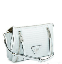 NWT GUESS Presley Quilted Crossbody Handbag Purse Chain Straps White
