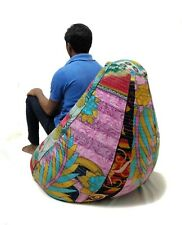 Handmade Quilted Embroidered Cotton Floral Bohemian Bean Bag Kids Furniture BD39