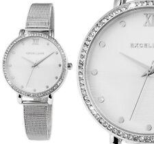Damen Armbanduhr Silber Silbern Crystalbesatz Meshband von Excellanc 130/003