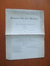 1922  GENTLEMENS GLEE CLUB MANCHESTER PROGRAMME