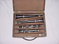 ANTIQUE  PARIS FRANCE HENRY GUNCKEL WOOD CLARINETS GRENADILLA   A and B FLAT