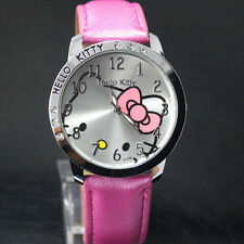 HELLO KITTY LADY Ragazza Donna Moda Cristallo da polso al quarzo regalo ideale ROSA