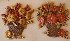 2 Burwood Fall Flower Basket Home Interiors Wall Plaques Set Vintage 1977